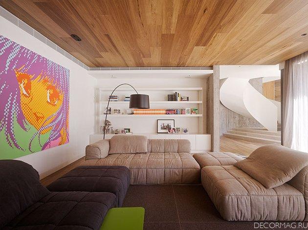 Отделка потолка в деревянном доме ламинатом дизайна